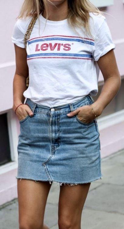 summer street stye addict / levis t-shirt and skirt