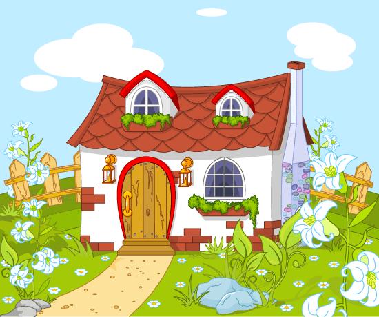 casa de cuento de hadas con bonito jardín y flores