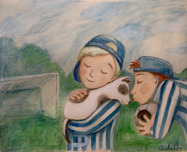 #Aide #Leit #AideLL #footboll boys #dog #art #illustaration #water color #kutsikas #puppy