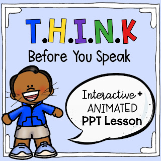 School counselor T.H.I.N.K. beefore you speak animated PPT lesson link on TpT