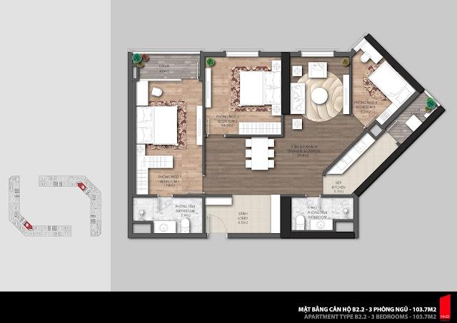 Thiết kế căn B2.2 - 103,7m2 chung cư The Emerald