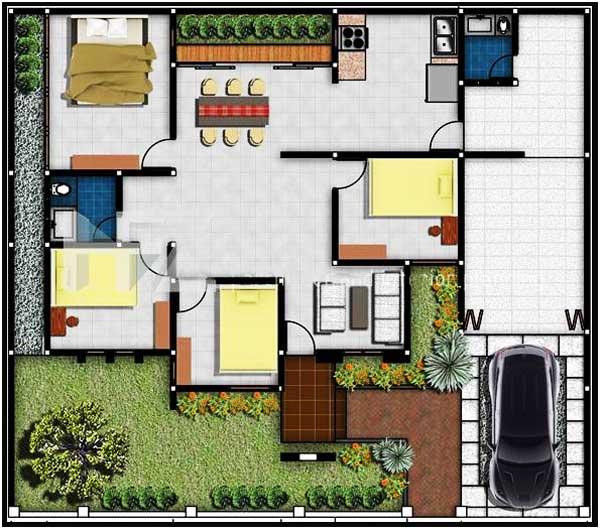 denah rumah 3 kamar ada garasi