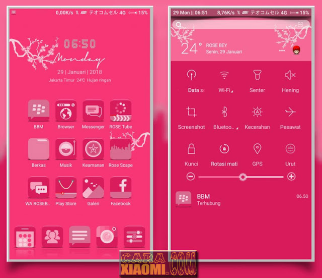 MIUI Thema Rose Bey V1 Mtz Update New Look Design For Xiaomi Redmi