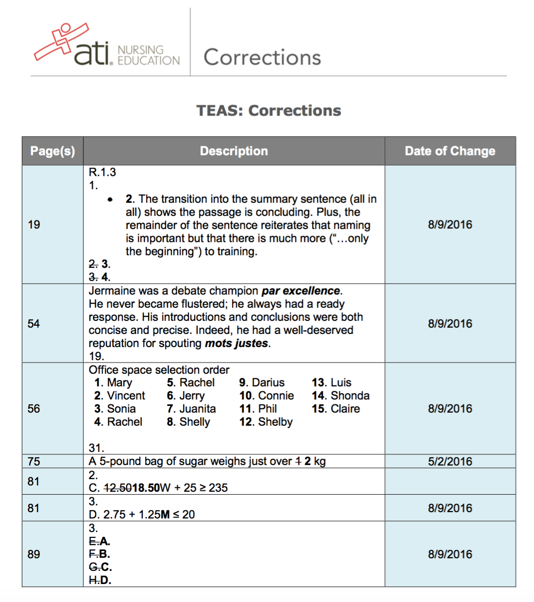 Corrections to ATI TEAS VI | A little dose of me and my notes