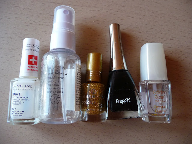 Avon, Eveline, Golden Rose Fantastic Nail Lacquer, Golden Rose Top Coat , Essence Colour and Go, księżycowa noc, manicure,