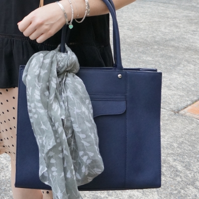 bird print scarf accessorising Rebecca Minkoff medium MAB Tote bag in moon navy | awayfromtheblue