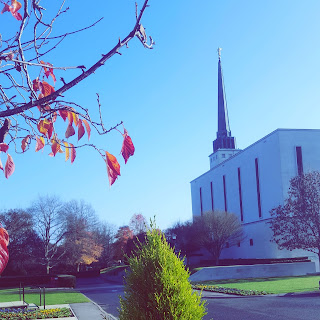The England London Temple on a Sunny November Day