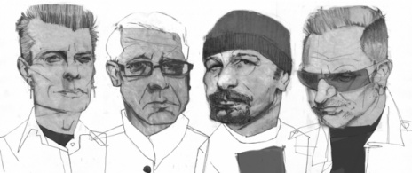 U2 cartoon, caricatura