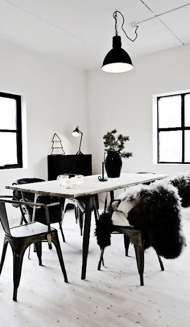 balck and white dinning room decor idea