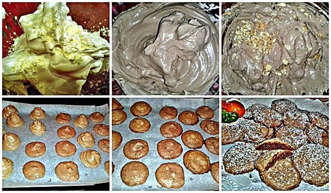 Preparación de las galletas merengadas de café capuchino y avellanas