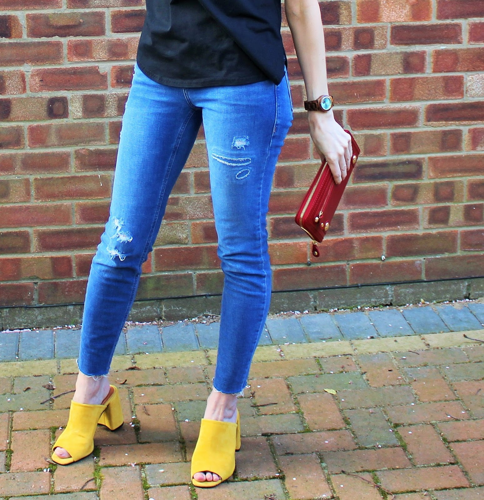 Colourful OOTD featuring embroidery, raw hem jeans and yellow mules - 3