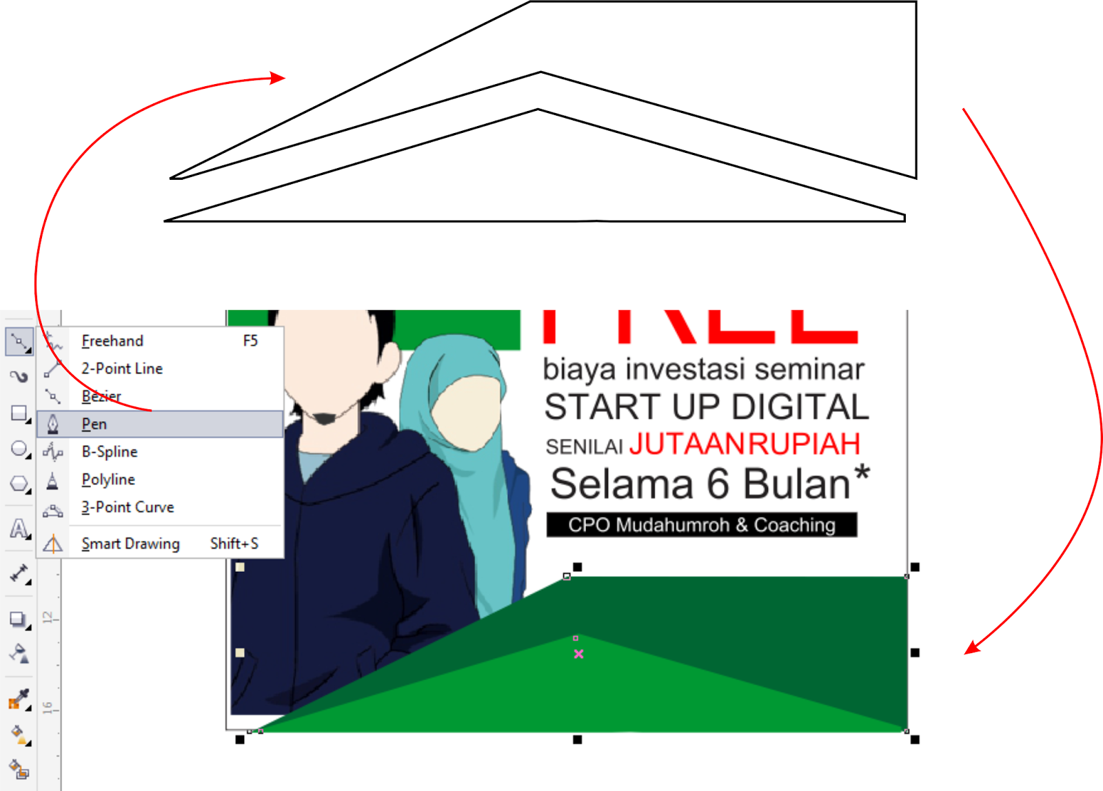 Tutorial CorelDRAW Membuat Brosur Open Recruitment - Guru