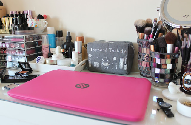 A messy dressing table and working space