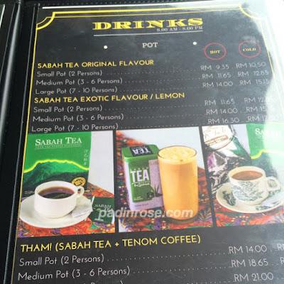 menu sabah tea restaurant
