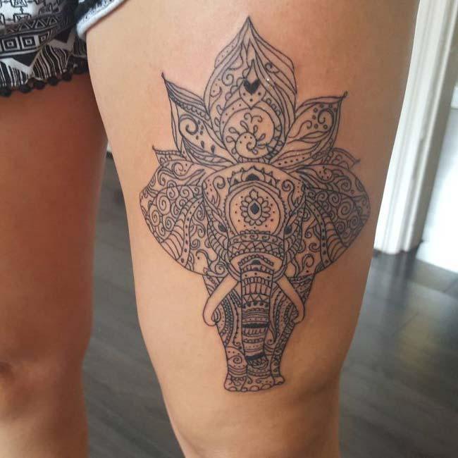 tribal mandala elephant tattoo