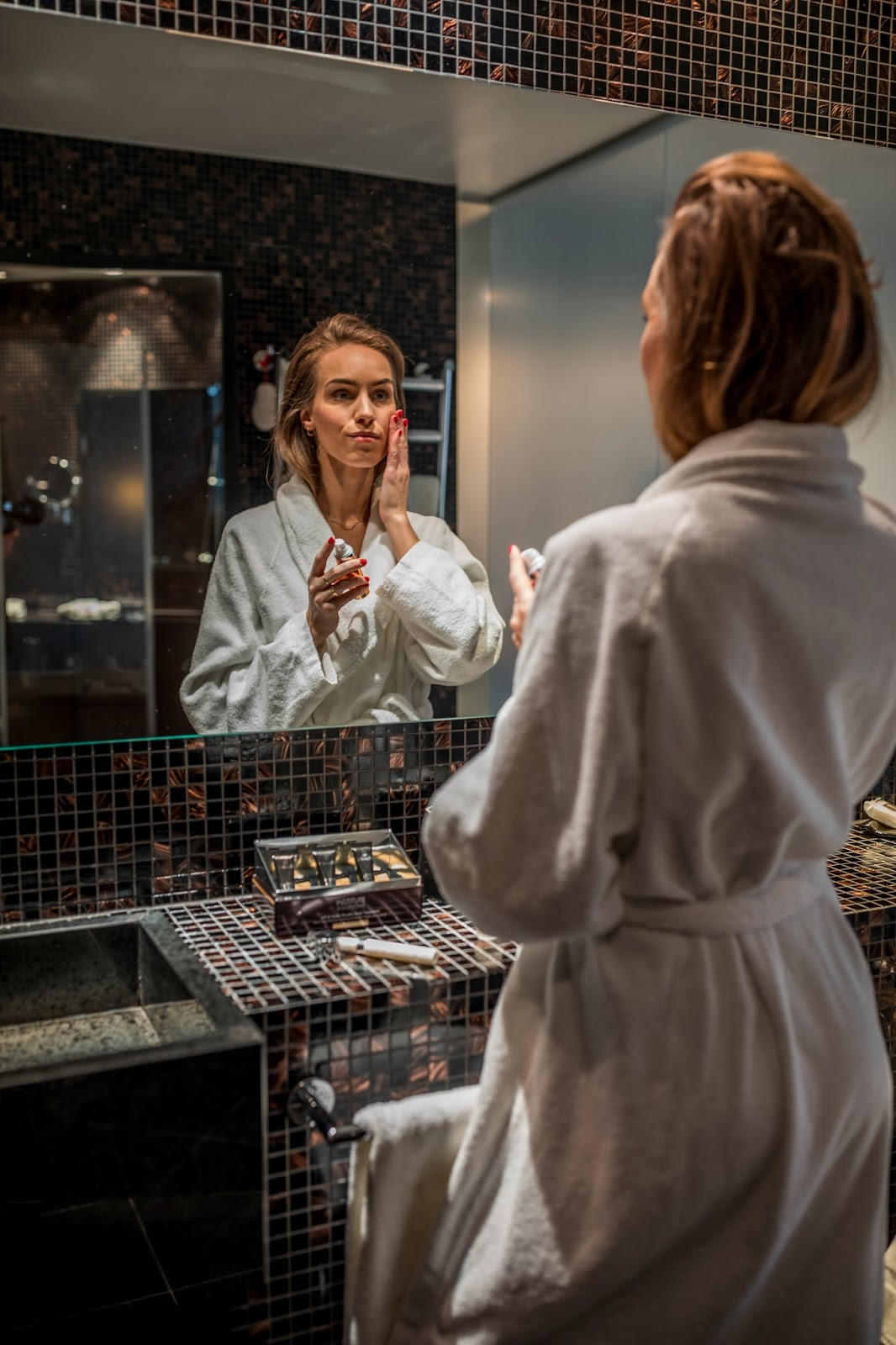 bathroom mirror robe skincare photography