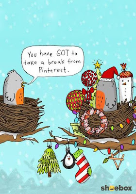 holiday humor, christmas nest birds, christmas comic, christmas funny