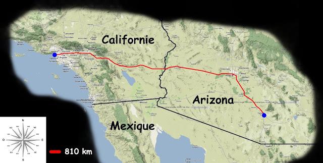 Mon parcours Tucson -> Los Angeles