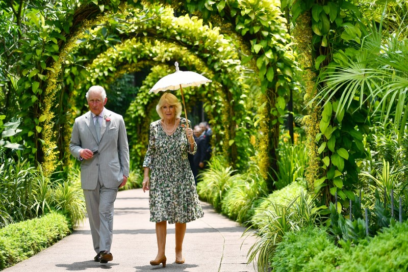 Prince Charles and Duchess Camilla at the National Orchid Garden at the Singapore Botanic Gardens.