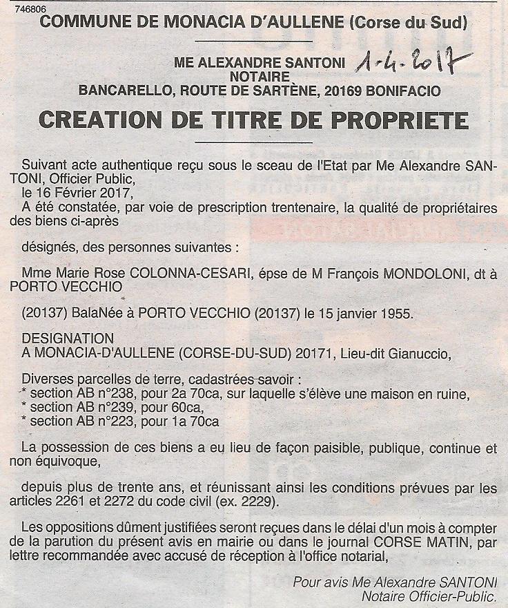 Aull ne et monacia d 39 aull ne villages de la corse du sud presse monac - Acte de propriete belgique ...