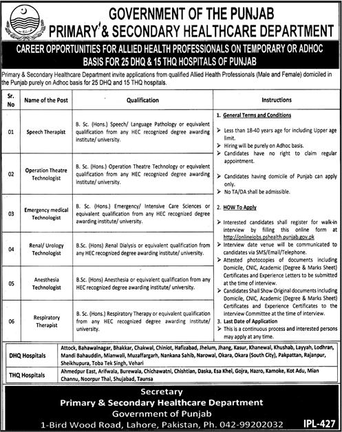 Primary And Secondary Healthcare Department THQ Hospital Jobs in Punjab 2019
