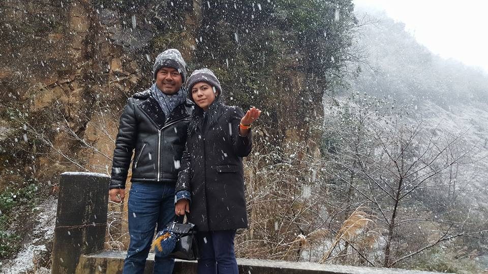 Lu Min and his Wife in Snow Land of China