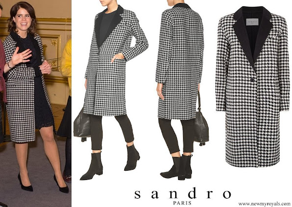 Princess Eugenie wore Sandro Morane Houndstooth Wool blend Coat