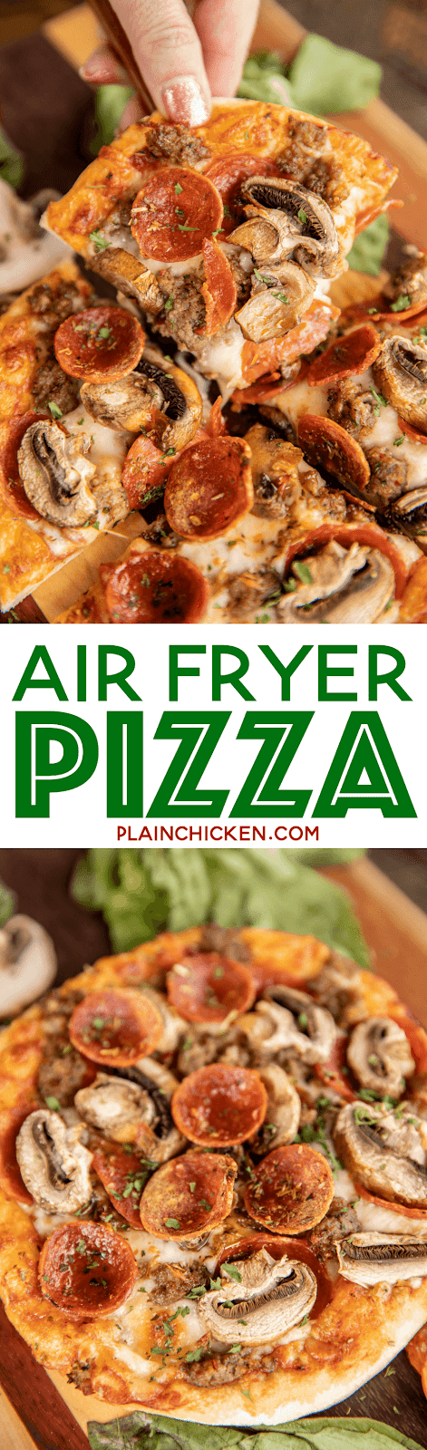 Air Fryer Pizza - hands down the BEST pizza EVER!! Individual pizzas ready to eat in 8 minutes. SO much better than delivery! Pizza dough, pizza sauce, mozzarella cheese and toppings. Use fresh store bought pizza dough or our Weight Watcher 2-Ingredient dough for a protein packed pizza. Great way to let the whole family get their favorite pizza! #airfryer #pizza