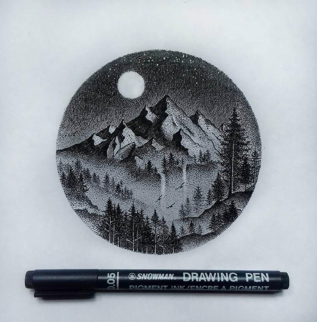 09-Moonllit-Mountain-G-A-Yuangga-Fineliner-Stippling-Drawings-www-designstack-co
