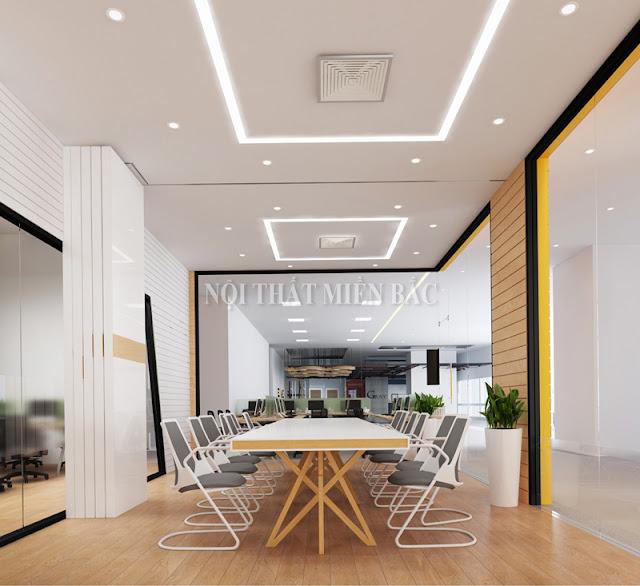 Mẫu thiết kế nội thất phòng họp đẹp này được thiết kế theo kết cấu mở