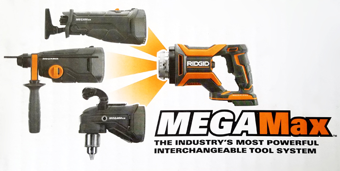 RIDGID MEGAMax - Reciprocating saw, right angle drill, sds