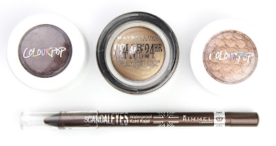 Autumn warm metallic eyes eyeshadow eyeliner Colourpop Supershock Shadow Mittens LaLa La La Maybelline Colour Tattoo Bad to the Bronze Rimmel Scandaleyes Waterproof Eyeliner Brown