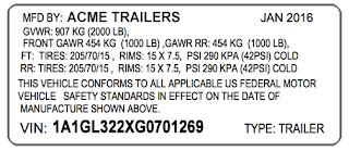 trailer VIN stickers