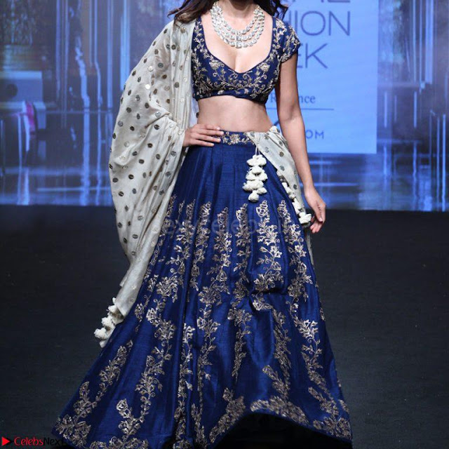 Disha Patani in Beautiful Blue Chania Choli Lehenga at Lakme Fashion Week Summer Spring 2017 1.jpg