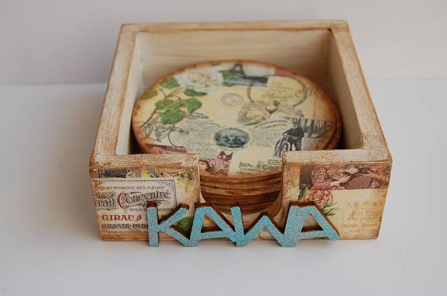 komplet pudełko i podstawki pod kubki ozdobione decoupagem