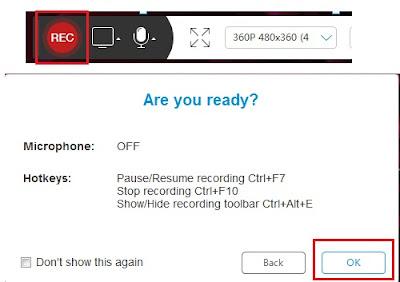 Jika sudah Sobat klik tombol REC. Kmudian akan muncul tab Are You Ready?, Sobat klik OK.