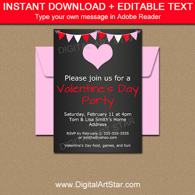 pink and red Valentine's Day chalkboard invitation, chalkboard sign