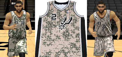 NBA 2K14 Spurs Military Night Camouflage Jersey Mod