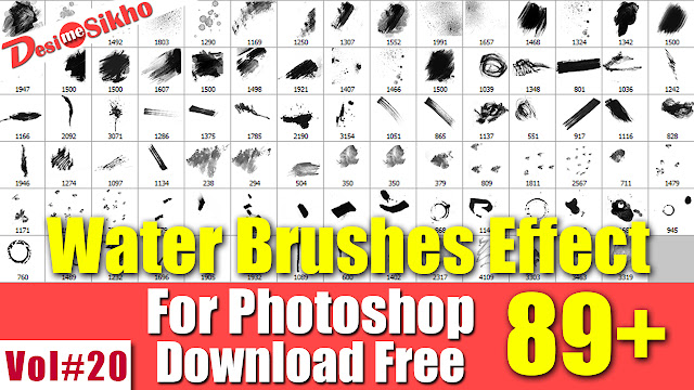 Water Color Brushes Effect For Photoshop Download Free Vol#20
