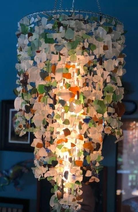 DIY Seaglass Hanging Lamp Chandelier