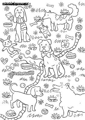 A coloring page of dogs / Värityskuva koirista