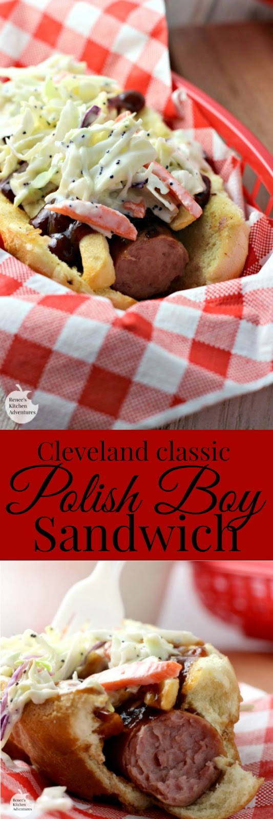 Polish Boy Sandwich | by Renee's Kitchen Adventures - easy recipe for a classic Cleveland taste! Kielbasa, fries, slaw and BBQ sauce all in one delicious sandwich! #SundaySupper