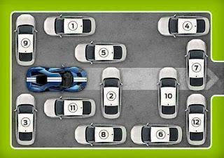 كم سيارة ستتحرك من مكانها لإخراج السيارة الزرقاء ؟