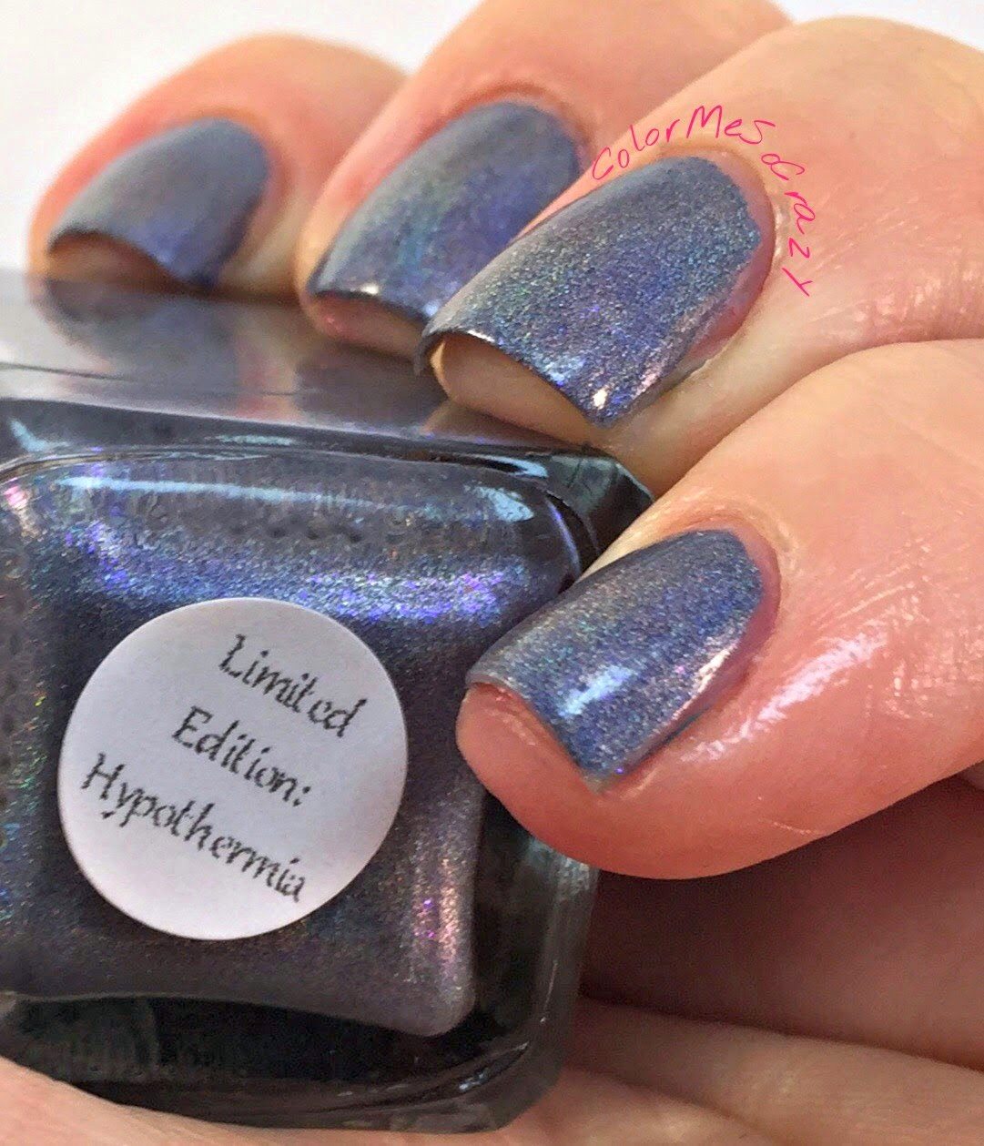begl, blue eyed girl lacquer, nail polish, purple polish, spark in the dark, purple holographic, holographic indie polish, hypothermia, holo polish