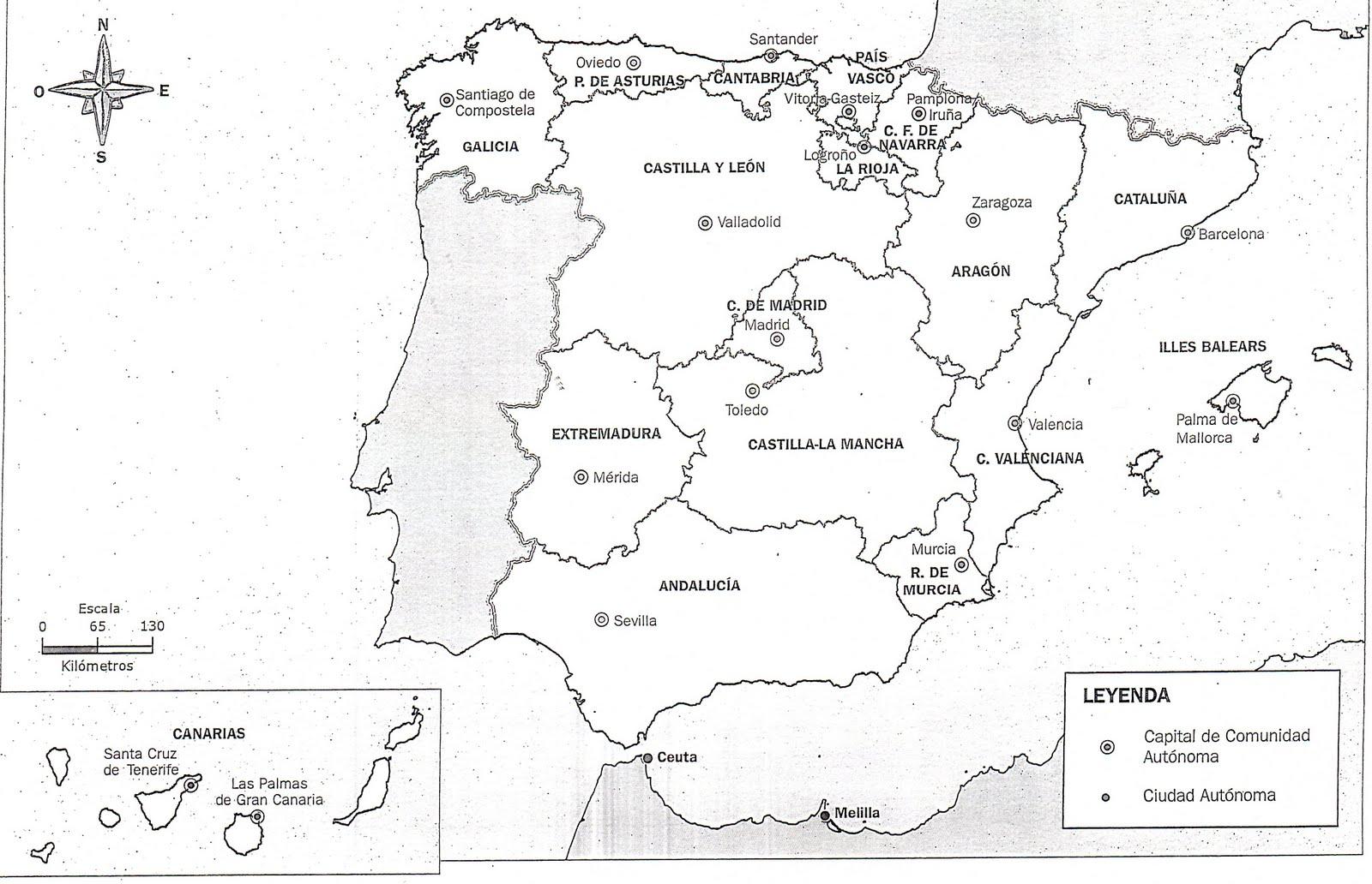 Mapa De Las Regiones De Espana Blanco Y Negro 13