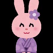 浴衣を着たウサギのキャラクター