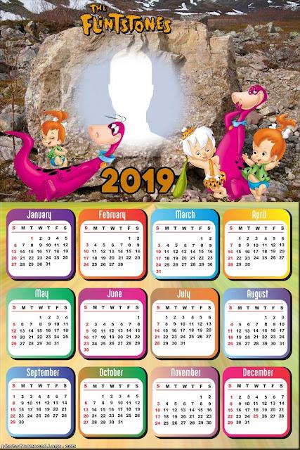 Calendario 2019 de los Picapiedra para Imprimir Gratis.