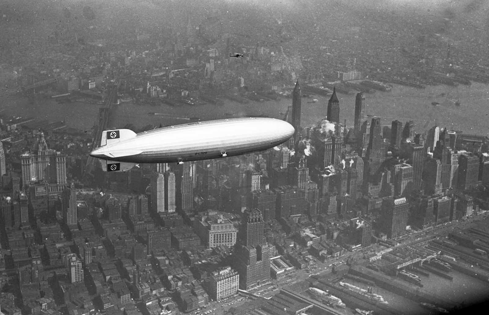 The Hindenburg flies over Manhattan, on May 6, 1937. A few hours later, the ship burst into flames in an attempt to land at Lakehurst, New Jersey.