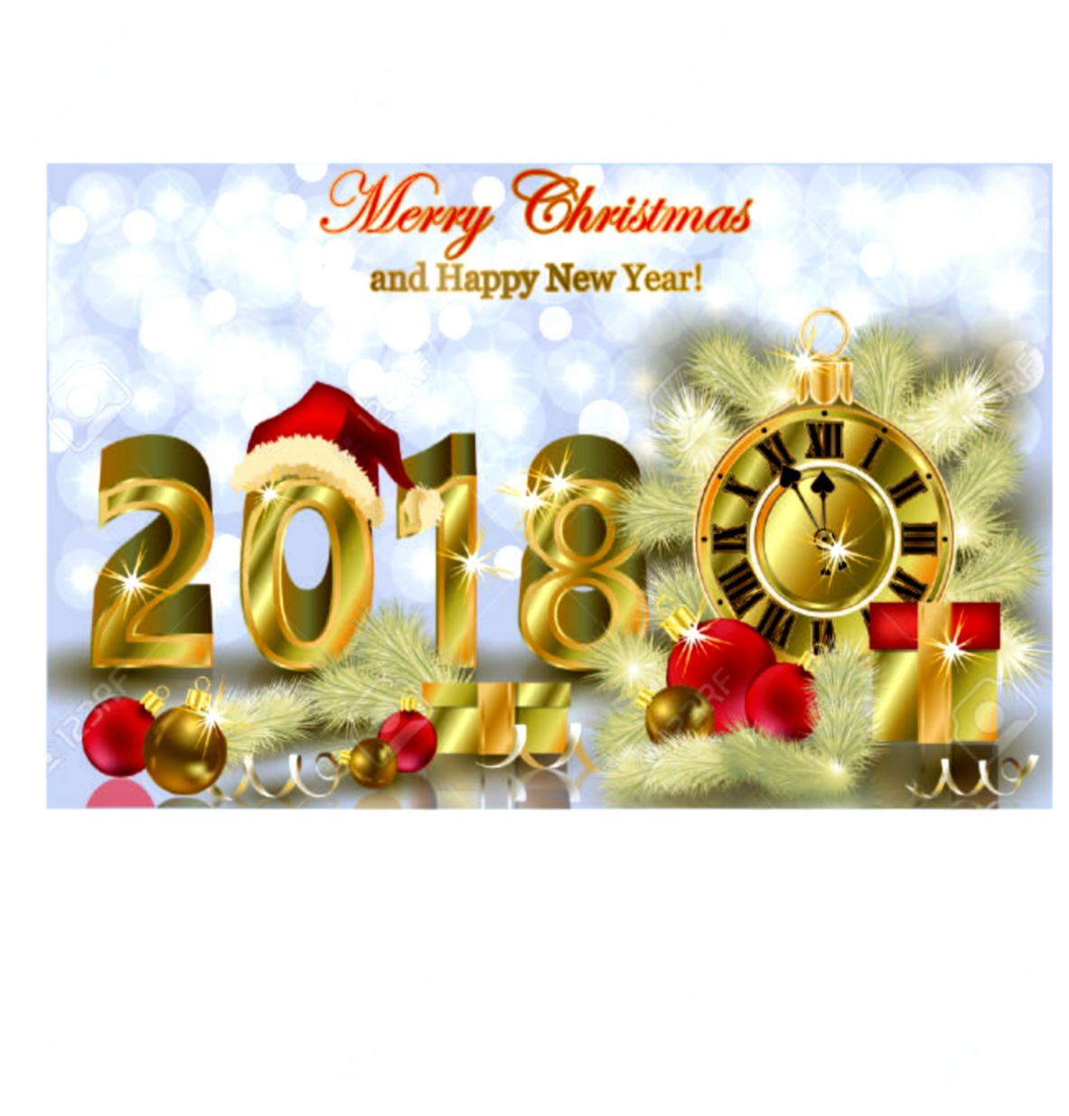 merry christmas and happy new year 2018 wallpaper vector