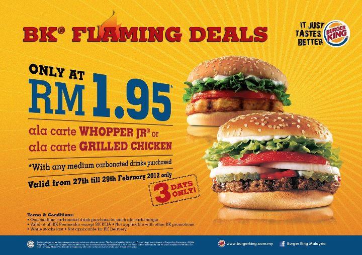 Carte Burger King.Bestlah Burger King Flaming Deals Ala Carte Whopper Jr Or